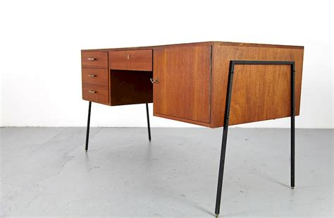 modern metal desk mid century modern teak writing desk with filigree metal