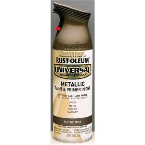 home depot paint no primer rust oleum universal 11 oz all surface metallic rustic
