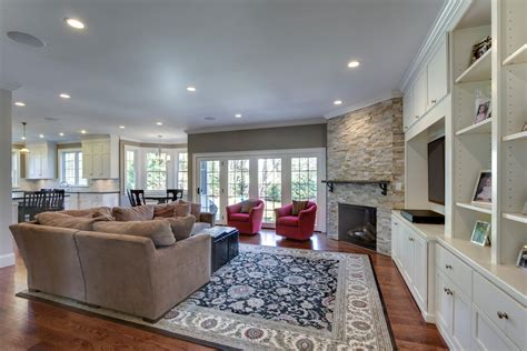 Kitchen Mantel Ideas stone corner fireplace family room traditional with built