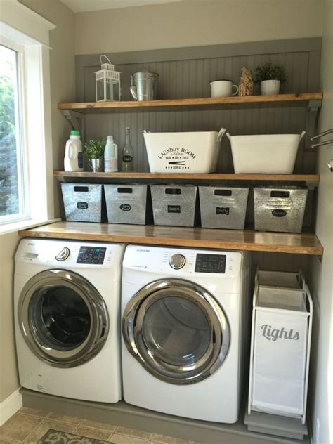 small laundry room storage ideas laundry room makeover wood counters walmart tin totes
