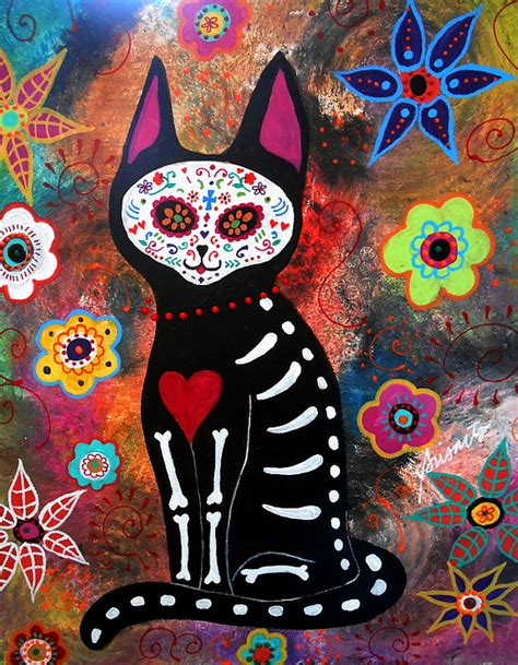 dead cat painting day of the dead cat el gato by pristine cartera turkus