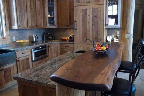Decorating Ideas For Top Of Kitchen Cabinets reclaimed chestnut with walnut slab bartop rustic