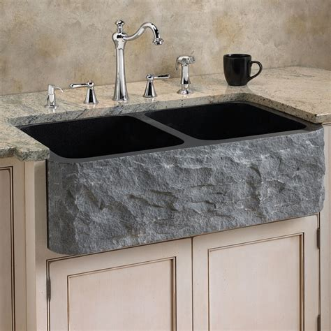 Belle Foret Kitchen Faucet polished granite double bowl farmhouse sink chiseled