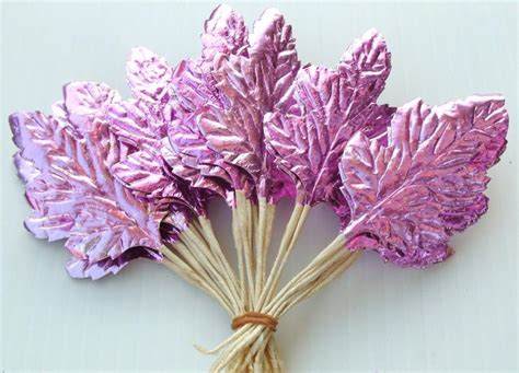 silver foil paper craft supplies pink chistmas wreath millinery flower pink metallic leaves