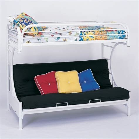 white bunk bed with futon coaster c style metal futon bunk bed in white