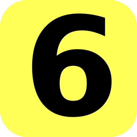 number six yellow rounded number 6 clip at clker vector