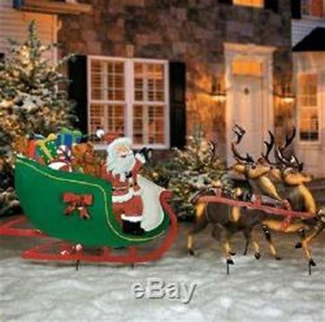 outdoor decorations santa and reindeer fashioned santa claus reindeer sleigh metal yard