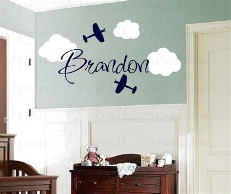 nursery wall name decals airplane vinyl wall decals with clouds and name boy name