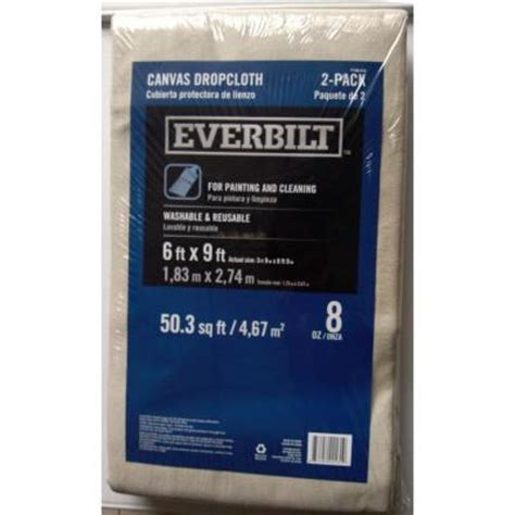 home depot paint drop cloth everbilt 6 ft x 9 ft 8 oz canvas drop cloth 2 pack