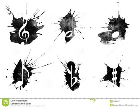 ink splatter music icons set on white background stock