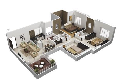 3 bedroom floor plan 25 more 3 bedroom 3d floor plans architecture design