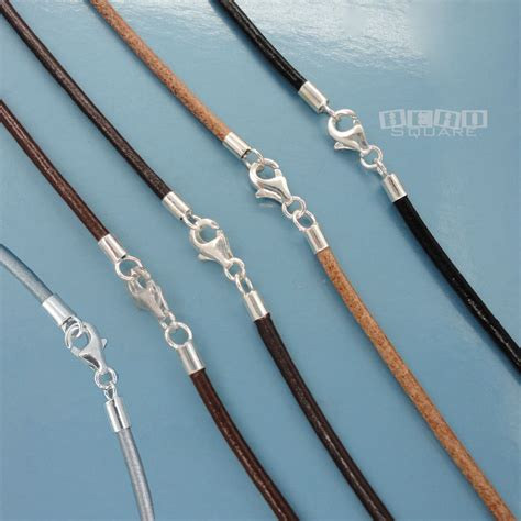 how to make leather cord jewelry sterling silver 2mm genuine leather cord necklace w