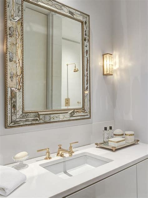 antique white bathroom mirror antiqued mirrored bathroom vanity with white marble top