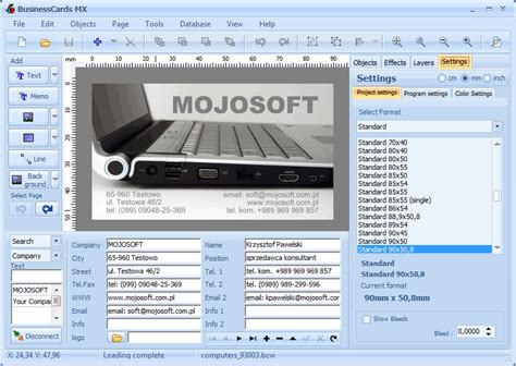 program to make business cards mojosoft software for design and print high quality
