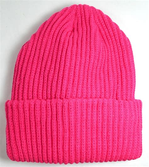 cheap knit hats wholesale winter knit cuff beanie hats solid pink
