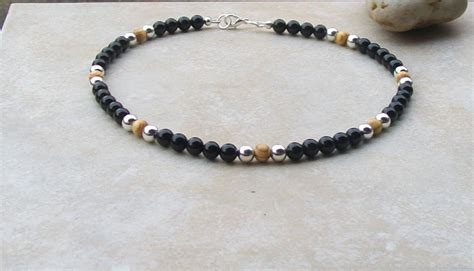 mens bead necklaces mens beaded necklace handmade black onyx brown wood silver