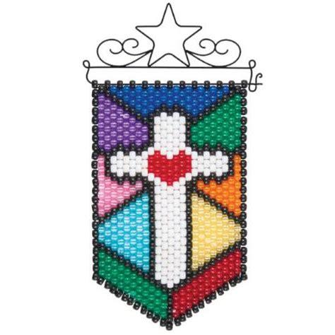beaded banner kits herrschners 174 stained glass cross mini beaded banner kit