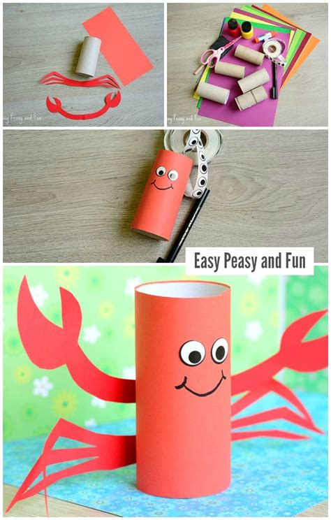 paper roll crafts for paper roll crab craft easy peasy and