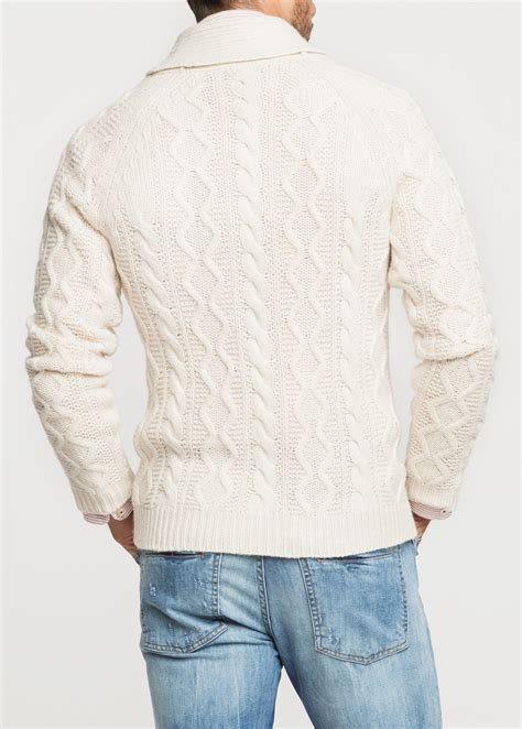 mens white cable knit sweater mango shawl collar cableknit cardigan in white for lyst