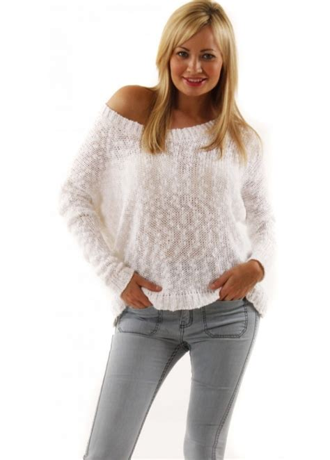 white chunky knit sweater oversized white jumper label jumpers in