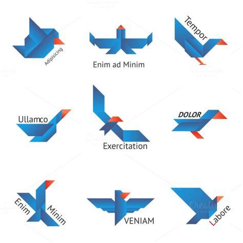 origami bird logo origami birds logos icons on creative market