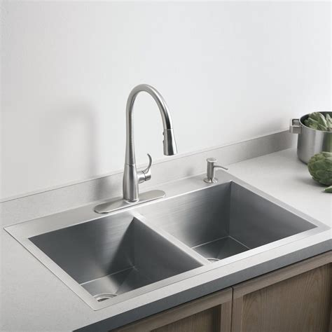 steel kitchen sinks kohler vault 3820 1 na stainless steel bowl kitchen