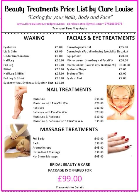 beauty treatments price list clarelouisetee