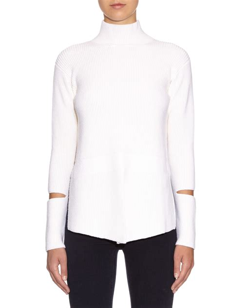 how to cut knitted sweaters stella mccartney cut out sleeve wool knit sweater in white
