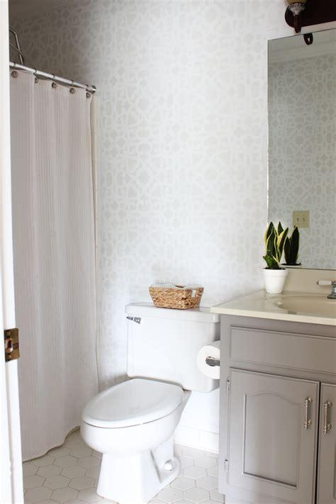 bathroom wall stencil ideas bathroom makeover stenciled walls plus a giveaway erin spain