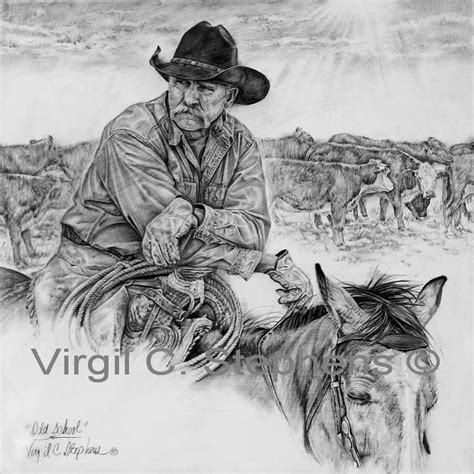 pencil art pencil drawing western of a cowboy at the