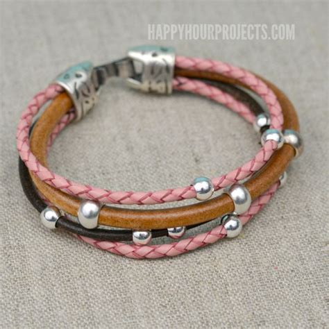 leather beaded bracelet diy easy beaded diy leather bracelet happy hour projects