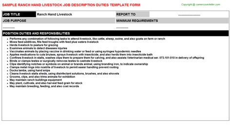 Free Cover Letter Samples ranch hand livestock job title docs