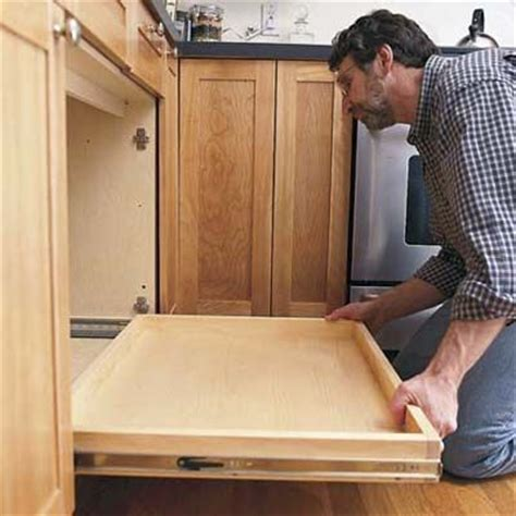 how to make pull out drawers in kitchen cabinets build kitchen cabinet pull out drawers woodworking