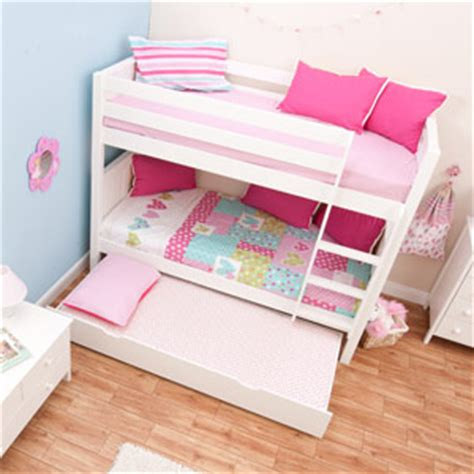 3 bedded bunk beds buy stompa classic white bunk bed with trundle bed