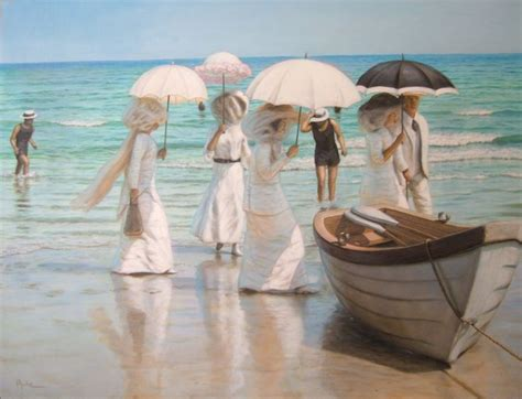 acrylic painting 30 x 40 quot day at the shore quot original acrylic painting by david