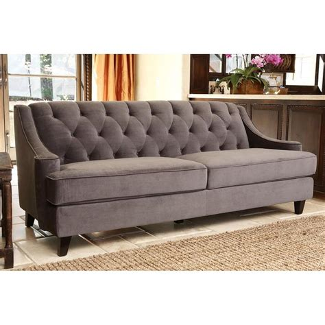grey velvet tufted sofa abbyson living claridge grey velvet fabric tufted sofa