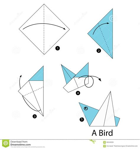 how to make a bird with origami paper step by step how to make origami bird stock