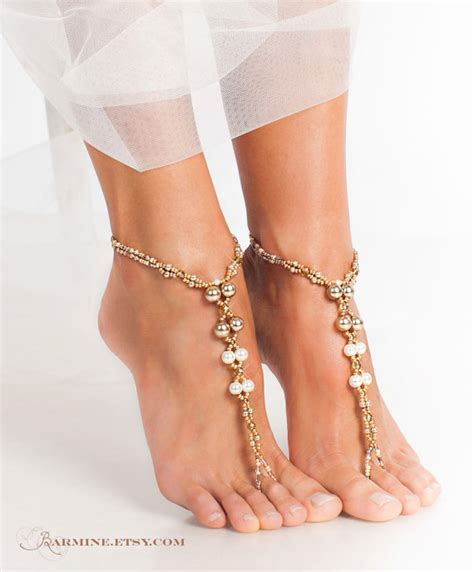 how to make barefoot sandals jewelry chagne gold bridal barefoot sandals wedding foot