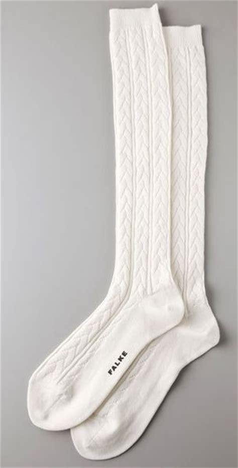 white cable knit knee high socks falke striggings cable knit knee high socks in white lyst