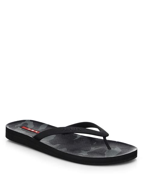 rubber sts for cookies prada rubber flip flops in black for lyst