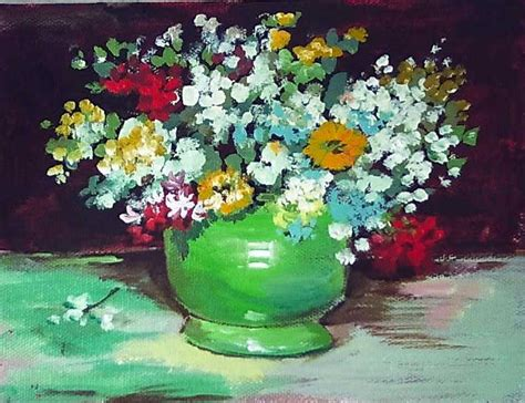 painting lessons flowers gogh vase with zinnias and other flowers