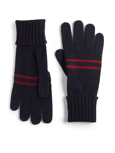 knitted gloves gucci knit gloves in black for lyst