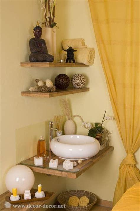 Bathroom Spa Decor by Corner Shelves Feng Shui Decorating