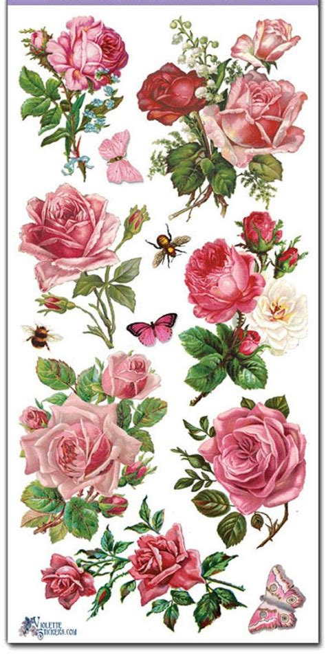 decoupage roses stickers pink roses decoupage collage mixed media
