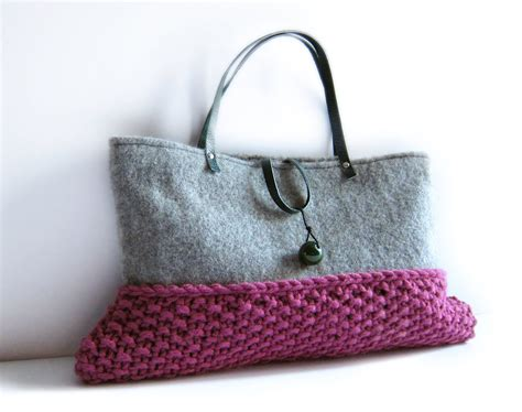 knitted purse wool bag knitted purse grey flannel pink chunky knit by memake