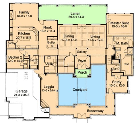 floor plans with courtyard courtyard house plan 16854wg 1st floor master suite butler walk in pantry cad