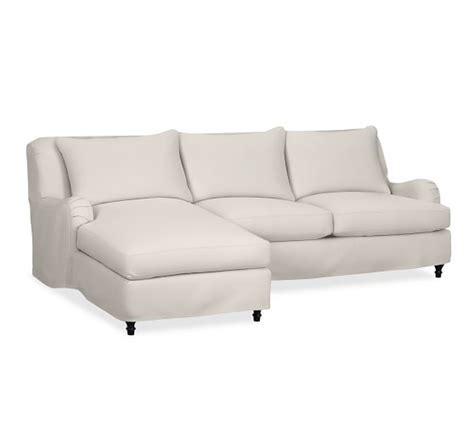 slip covered sectional sofas carlisle slipcovered sofa with chaise sectional pottery barn