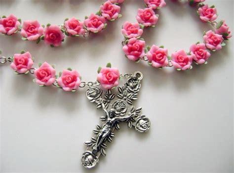 pink rosary so beautiful handmade shocking pink soft cerami6cm cross