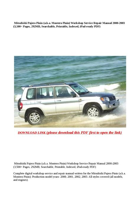 mitsubishi pajero montero workshop manual pdf download mitsubishi pajero pinin a k a montero pinin workshop service repair manual 2000 2003 3 500