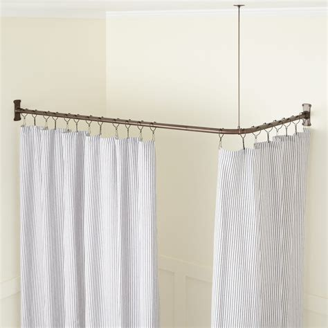 bathroom shower curtain rod corner solid brass commercial grade shower curtain rod